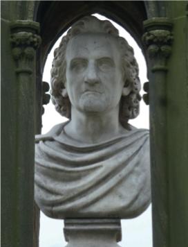 Büste auf dem Grabmal von Karl Alexander Heideloff.