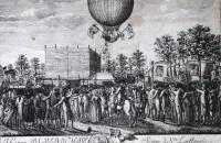 Historische Darstellung von Blanchards Ballonfahrt in Nürnberg.
