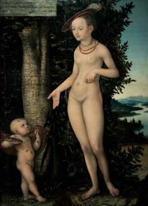 Venus mit Amor als Honigdieb (1534) von Lucas Cranach d. Ä.