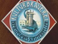 Seit über einem Jahrhundert das Markenzeichen der Lederer-Brauerei: von Friedrich Wilhelm Wanderer entworfen.